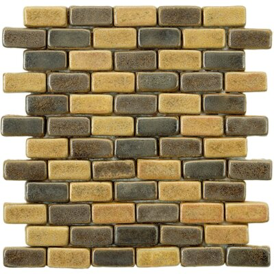 Greenwich Brick 0.75 x 2 Ceramic Mosaic Tile in Chocolate Brown/Ochre
