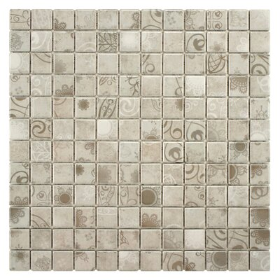 Filigree 0.9 x 0.9 Porcelain Mosaic Tile in Gray