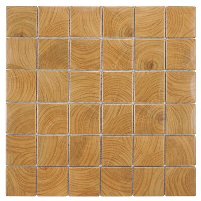 Thicket 1.85 x 1.85 Porcelain Mosaic Tile in Wood Brown