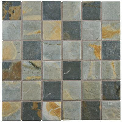 Arriba 1.85 x 1.85 Porcelain Mosaic Tile in Slate Brown/Gray