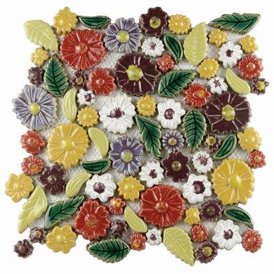 Floral 11.75 x 11.75 Ceramic Mosaic Wall Tile in Perennial