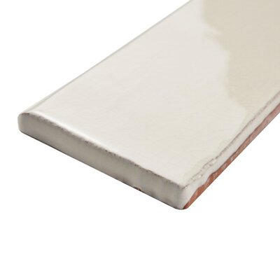 Antiqua 6 x 3 Ceramic Bullnose Tile Trim in White