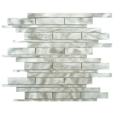 Alundum Linear 11.75 x 12 Brushed Aluminum Mosaic Wall Tile in Silver