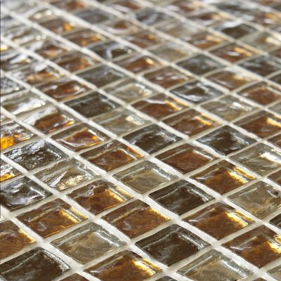 Illyria 0.7 X 0.7 Glass Mosaic Wall Tile in Radium Gold and Brown