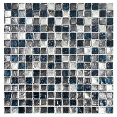 Illyria 0.7 X 0.7 Glass Mosaic Tile in Chromium Blue and Silver
