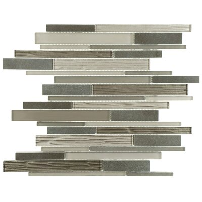 Sierra Grand Piano Random Sized Glass and Stone Mosaic Tile in Basalt Gray/Brown