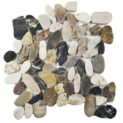 Sydney Random Sized Natural Stone Pebble Tile in Beige/Gray