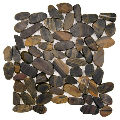 Sydney Random Sized Natural Stone Pebble Tile in Black