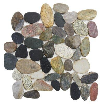 Sydney Random Sized Natural Stone Pebble Tile in Black/Blue