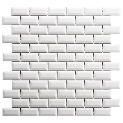 Retro Subway 0.88 x 1.88 Beveled Porcelain Mosaic Floor and Wall Tile in Glossy White