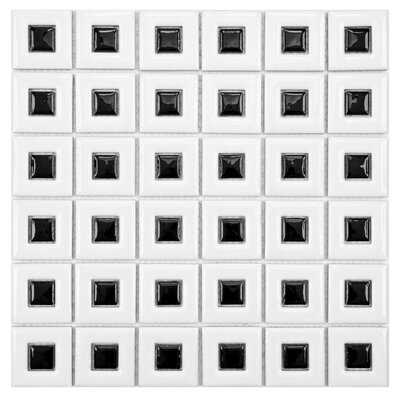 Modernist Porcelain Mosaic Tile in White/Black