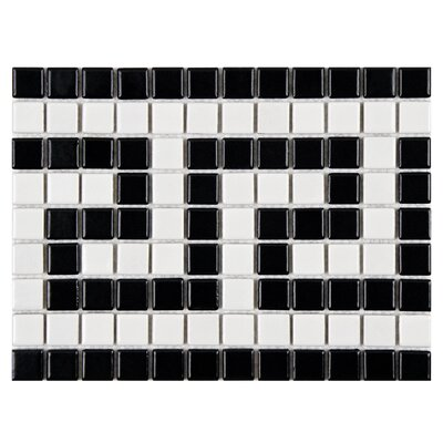 Retro Greek Key 0.81 x 0.81 Porcelain Mosaic Tile in Matte White/Black