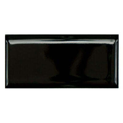 Retro 3.75 x 1.75 Porcelain Bullnose Tile Trim in Glossy Black