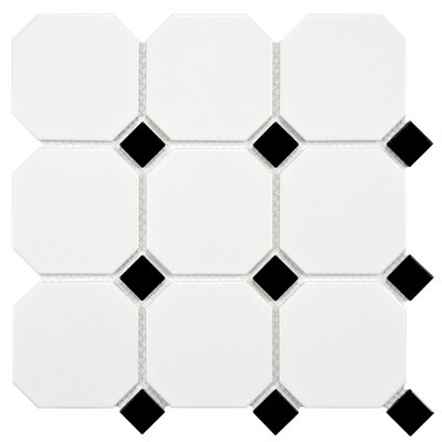 Retro Super Octagon 11.625 x 11.625 Porcelain Mosaic Tile in Matte White with Glossy Black Dot