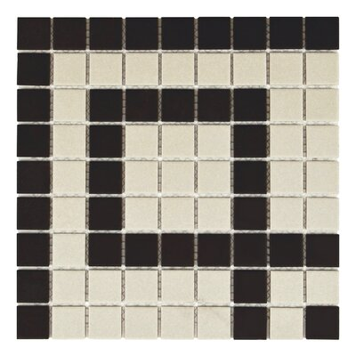 New York 1 x 1 Porcelain Mosaic Tile in Black/Beige