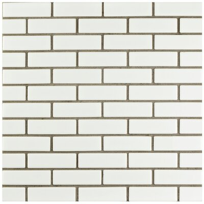 Retro Brick 0.75 x 3 Porcelain Mosaic Tile in Glossy White