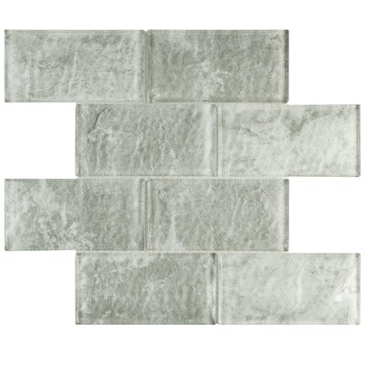 Nieve 2.88 x 5.88 Glass Field Tile in Gray