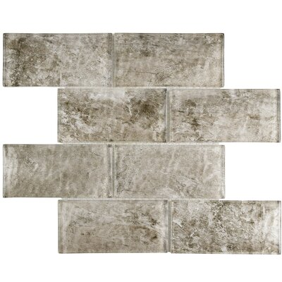 Nieve 2.88 x 5.88 Glass Mosaic Tile in Smoke