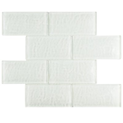 Nieve 2.88 x 5.88 Glass Mosaic Tile in Glacier White