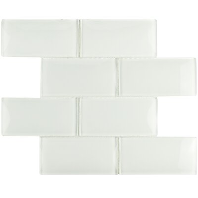 Nieve 2.88 x 5.88 Glass Mosaic Tile in Ice White