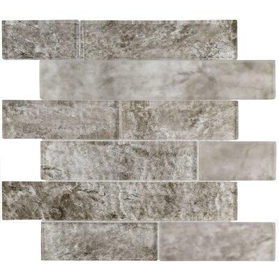 Nieve Panel 11.625 x 11.75 Glass Mosaic Tile in Smoke