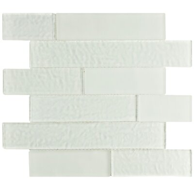 Nieve Random Sized Panel Glass Mosaic Tile in Glacier White