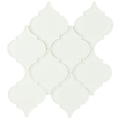 Linterna 3.5 x 4.25 Glass Mosaic Tile in Frosted Ice white