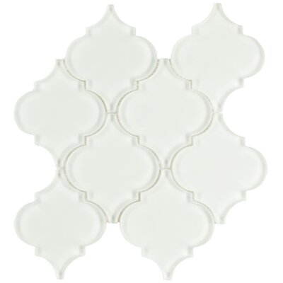 Linterna 3.5 x 4.25 Glass Mosaic Tile in Glossy Ice White