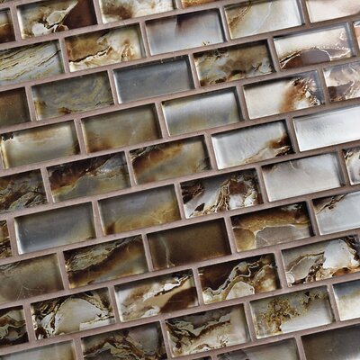 Splendor 0.88 x 1.88 Subway Glass Mosaic Tile in Champagne