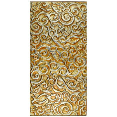 Florencia 11.75 x 23.75 Glass Field Tile in Burnt Orange/Gold Ivy