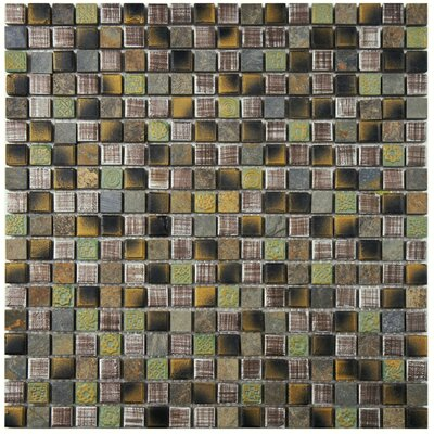 Isle 0.63 x 0.63 Porcelain Mosaic Tile in Brown/Green