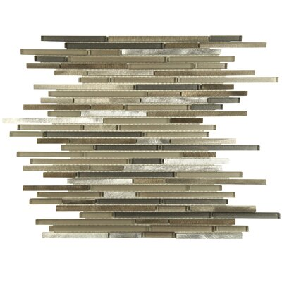 Commix Brushed Random Sized Aluminum/Glass Mosaic Tile in Brown/Gray