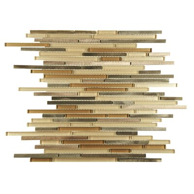 Commix Brushed Random Sized Aluminum/Glass Mosaic Tile in Beige/Brown