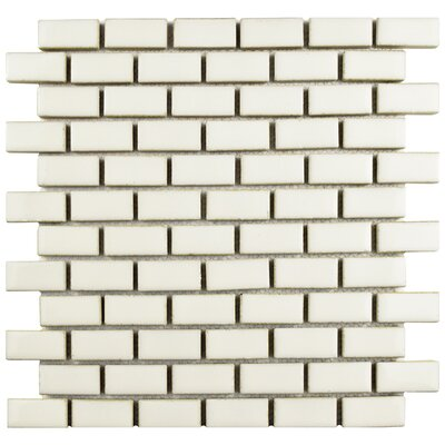 Essentia 0.91 x 1.89 Porcelain Mosaic Tile in Ivory Bone