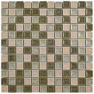 Interval 0.88 x 0.88 Ceramic and Glass Mosaic Wall Tile in Beige Mix
