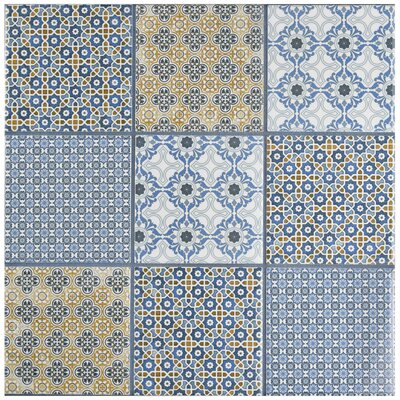 Hedwig 3.88 x 3.88 Porcelain Mosaic Tile in Blue/Gold