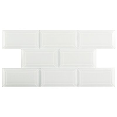 Sierra 3 x 6 Glass Subway Tile in Glossy Ice white