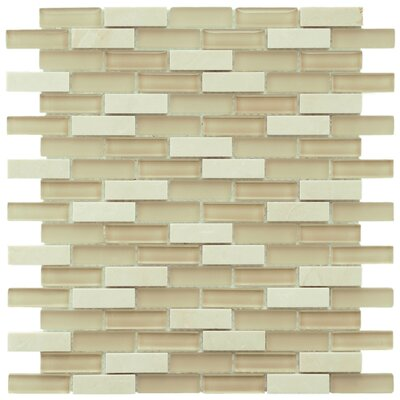 Sierra 0.58 x 1.88 Glass and Natural Stone Mosaic Tile in Sandstone