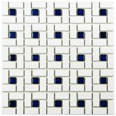Retro Random Sized Porcelain Mosaic Tile in White/Blue