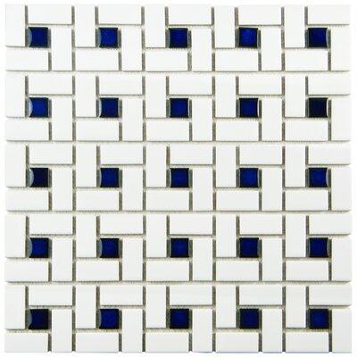 Retro Random Sized Porcelain Mosaic Tile in White/Blue