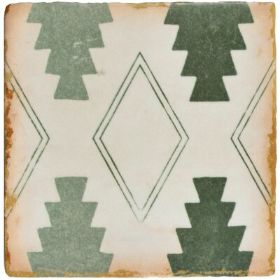 Arquivo 4.88 x 4.88 Ceramic Field Tile in Green/White