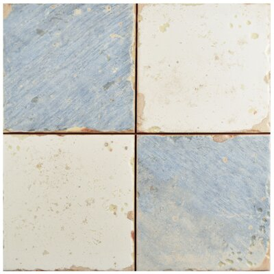 Artisanal 13 x 13 Ceramic Field Tile in Damero Azul