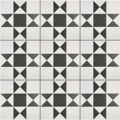 Narcisso Blanco 13 x 13 Porcelain Field Tile in Black/White