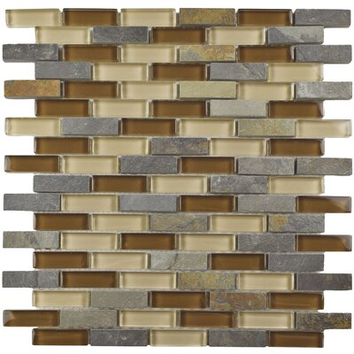 Sierra 0.58 x 1.88 Glass and Stone Mosaic Tile in Brown/Gray