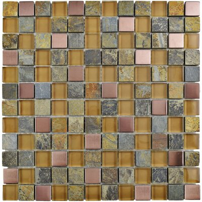 Abbey 0.88 x 0.88 Glass/Stone/Metal Mosaic Tile in Alloy Copper