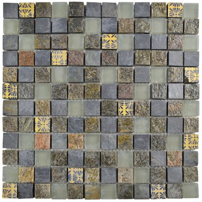Abbey 0.88 x 0.88 Natural Stone and Metal Mosaic Tile  in Fauna Rosa