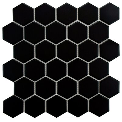 Retro Hexagon 2 x 2 Porcelain Mosaic Tile in Matte Black