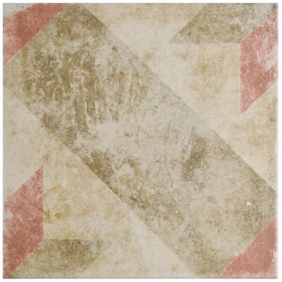 Herculanea 9.75 x 9.75 Star Porcelain Field Tile in Red/Brown