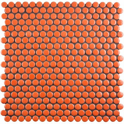 Celestia Penny Round 0.6 x 0.6 Porcelain Mosaic Tile in Orange