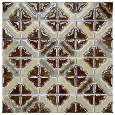 Castle Random Sized Porcelain Mosaic Tile in Henna